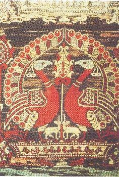 Titre / dénomination : Chape aux paons Lieu de production : Espagne Date / période : Première moitié du XIIe siècle Matériaux et techniques : Soie, samit 4 lats