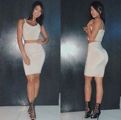 """""""Can i have her body please That dress suits her amazing"""" Yovanna Ventura, Hispanic Women, Two Piece Dress, Dress Suits, Instagram Models, White Outfits, Swagg, Get Dressed, Cute Dresses"""