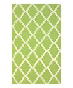Look at this #zulilyfind! Green Pop Trellis Wool Rug #zulilyfinds