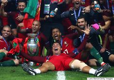 PARIS, FRANCE - JULY Cristiano Ronaldo and Portugal players celebrate after their win against France in the UEFA EURO 2016 Final match between Portugal and France at Stade de France on July 2016 in Paris, France. (Photo by Lars Baron/Getty Images) Portugal Euro 2016, France Portugal, Portugal National Football Team, Ronaldo Quotes, Cristiano Ronaldo Portugal, Cristino Ronaldo, Nations Cup, Uefa Euro 2016, Nail Biting