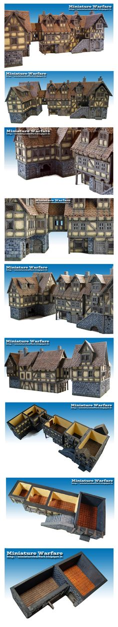 The Internet's largest gallery of painted miniatures, with a large repository of how-to articles on miniature painting Medieval Houses, Medieval Town, Medieval Fantasy, Fantasy House, Fantasy Village, Planet Coaster, Minecraft Designs, Minecraft Ideas, Game Terrain