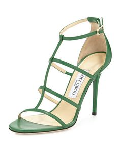 Dory Caged Leather Sandal, Kew by Jimmy Choo at Neiman Marcus.