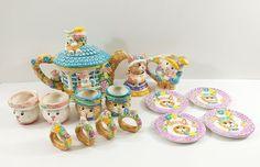 Bunny Childrens Tea Set 15 Piece Mercuries in Box Ceramic  #Mercuries