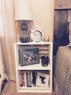 Diy wooden crate nightstand