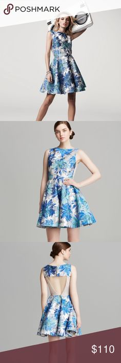 Alice + Olivia Foss Brocade Fit Flare Cutout Dress Beautiful fit & flare Alice + Olivia fit and flare dress in metallic blue. Cutout back, neck zipper and lower back zipper. Structured skirt with edge paneling that gives the skirt shape and flare. Super luxurious! Alice & Olivia Dresses