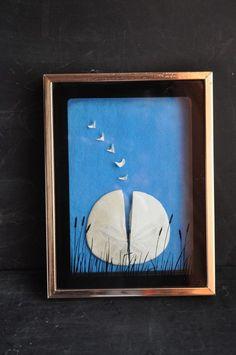 Vintage Framed Sand Dollar 70s retro art with Legend Poem Jesus Gospel Story