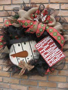 FAMILY of FLAKES SNOWMAN wreath, sign on black deco mesh wreath, snowflake plaid ribbon, pinecones, burlap ribbon- Christmas wreath, Snowman...