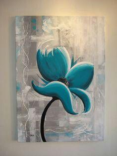 Turquoise bloem cm Gemaakt door Jessica Immen Creative art by Jessica www. Easy Canvas Painting, Diy Canvas Art, Peintures Bob Ross, Acrylic Art, Creative Art, Flower Art, Art Drawings, Artwork, Paintings
