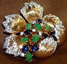 Mazer - Jomaz - Bijoux Vintage - Parure Broche et Boucles d'Oreilles 'Emeraudes et Saphirs'