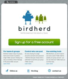 Twitter made easy for groups and teams  http://birdherd.com/