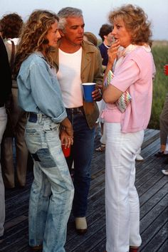 Ralph Lauren, Ricky Lauren, and Barbara Walters, 1984, in the Hamptons