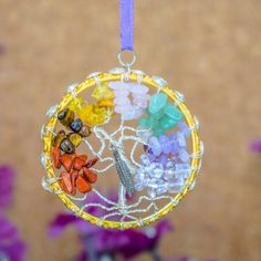 Chakra+Tree+of+Life+pendant+with+Silver+Feather+Charm