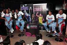West Indies women cricket team captain, Merissa Aguilleira, and her teammates, Stafanie Taylor, Anisa Mohammed and Shakera Selman interact with children during the promotion of ICC Women World Cup at Star Sports SMAaASH, a interactive sport hub in Mumbai, India on February 6, 2013.