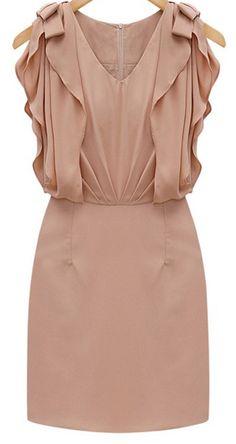 Lotus Sleeve Linen Blend Dress