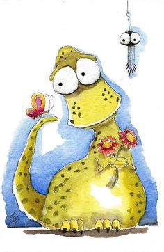 Original watercolor art painting Lucia Stewart whimsical Dragon sweet heart #IllustrationArt