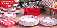 Our Picnic Party supplies are red, white and cute all over! These picnic-themed party supplies include gingham tablecloths, paper cups, red and white plates and more! Gingham Party, Red Gingham, Picnic Themed Parties, Picnic Party Favors, Baby Q Shower, Baby Shower Barbeque, Picnic Decorations, Picnic Birthday, Western Parties