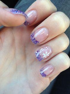 Winter time nail design #nails #naildesign #nailart snow flakes sparkly purple