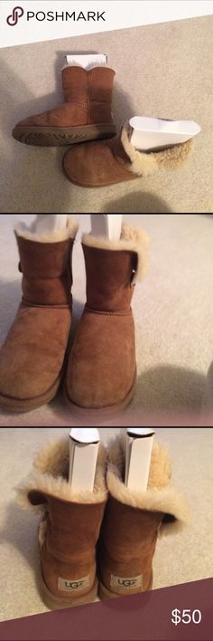 Authentic Uggs- size 3 (girls) K Bailey Button Brown uggs, worn but in good shape...size 3 (years) offers welcome! UGG Shoes Boots