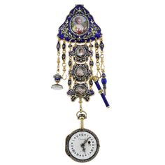French Yellow Gold Diamond Cameos Pocket Watch | From a unique collection of vintage more jewelry at https://www.1stdibs.com/jewelry/more-jewelry-watches/more-jewelry/