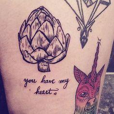 You Have My Heart (of artichoke) tattoo by Jill Greenseth #vegetabletattoo #hearttattoo #artichoketattoo #jillgreenseth