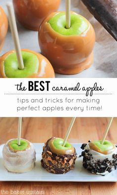 The best caramel apples ever! Tips and tricks plus an amazing homemade caramel recipe! www.thebakerupstairs.com