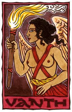 Vanth is an Etruscan Goddess of the Underworld, perhaps a psychopomp, whose presence indicates recent or impending death.