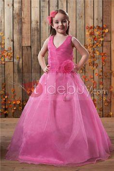 Pretty Ball Gown Floor-length V-neck Flower Girl Dress