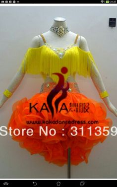 .yellow and orange fringe ruffle frill horsehair skirt latin dress