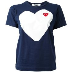 Comme Des Garçons Play Printed Heart T-Shirt ($120) ❤ liked on Polyvore featuring tops, t-shirts, blue, heart tops, play comme des garçons, short sleeve tees, short sleeve t shirts and heart tee