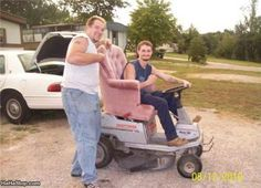 A nice comfy redneck lawnmower. Share your funny lawn mower photos: http://www.facebook.com/smallengineparts
