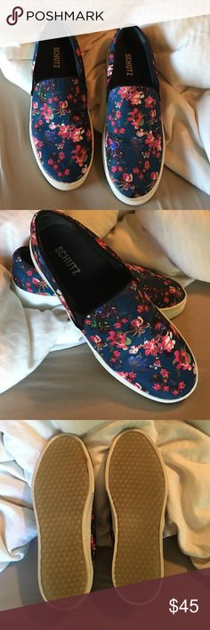Schutz Floral Slip On Shoes Worn twice. In excellent condition. Only sign of wear is in the corner of the bottom of one of the shoes as seen in the photo. You will definitely get a ton of compliments on these! They fit me a little large otherwise I'd keep them for myself. SCHUTZ Shoes