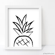 Pineapple Print, Pineapple Decor, Black and White Art, Minimalist Poster, Printable Wall Art, Sketch Art, Brush Stroke Art, Ink Drawing by HappyCatDownloads on Etsy https://www.etsy.com/listing/253983652/pineapple-print-pineapple-decor-black