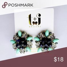 Mint & crystal flower studs 18k plated base metals- glass crystals- nickel & lead free! T&J Designs Jewelry Earrings