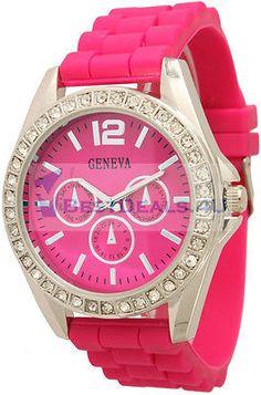 Women's Geneva Silicone Chronograph Crystal Bling Fashion Designer Watch