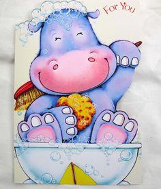 Vintage purple hippo birthday card / Regal by SandrasCornerStore