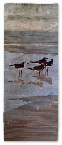 Martha Wolfe - Florida: Gulls x Quilt Art, Wildlife Quilts, Landscape Art Quilts, Landscapes, Beach Quilt, Denim Art, Bird Quilt, Colorful Quilts, Textiles