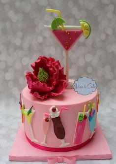 Girly Cocktail Cake by Viva La Cake Birthday Cake Drink, Nutella Birthday Cake, 18th Birthday Cake For Girls, Elegant Birthday Cakes, Bithday Cake, Themed Birthday Cakes, Themed Cakes, Birthday Desserts, 30th Birthday