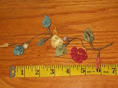 Antique LAVISH FRENCH HndMd SILK RIBBONWORK ~Flowers*Leaves*Buds&Stamens~#1 OF 3