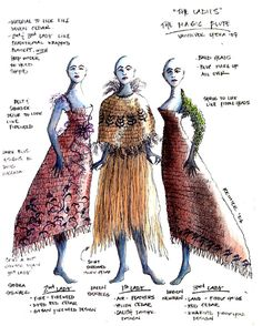 The Magic Flute (The Ladies). Vancouver Opera. Costume design by Christine Reimer. 2007