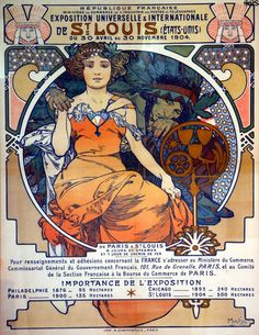 St Louis World's Fair Art Nouveau poster (1903) by Alphonse Mucha issued by French government at Missouri History Museum. St Louis, MO.