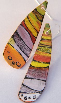 "CynthiaDelGiudice and Florencia Del Giudice - Original Art Earrings - Hand painted artwork with Acrylic paint and India ink ""Layers of Nature "" - polymer ? Paper Earrings, Paper Jewelry, Polymer Clay Earrings, Jewelry Art, Paper Beads, Jewellery, Ceramic Jewelry, Enamel Jewelry, Shrink Plastic Jewelry"