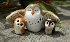 Brown Clay Owl Family, Harry Potter Inspired Owlery Hedwig Miniature