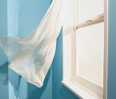 Baby blue walls-White curtains