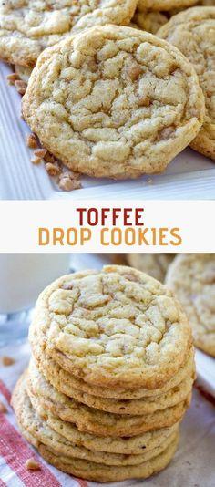 Toffee Cookie Recipe, Toffee Cookies, Best Cookie Recipes, Yummy Cookies, Chocolate Chip Cookies, Baking Recipes, Buttery Cookies, Heath Bar Cookies, Chocolate Cheesecake