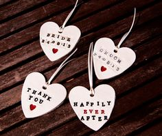 Personalised Clay Hearts Wedding Favours
