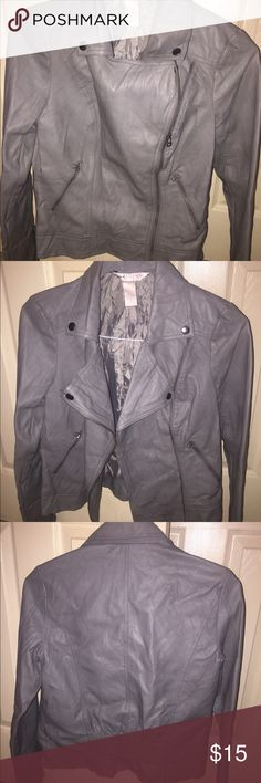 Gray leather jacket Cute and trendy lightweight leather jacket! Like new Jackets & Coats