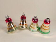 Vintage Shiny Brite Bells Christmas Ornaments Lot of 4 Mercury Glass 3 Inches #ShinyBrite #vintagebells