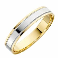 18ct Yellow with White Gold Flat Wedding Ring Width 4mm