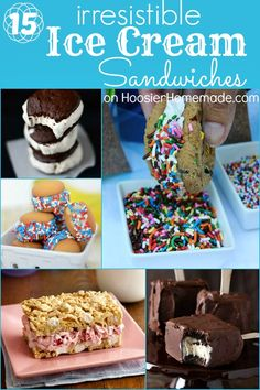 15 Irresistible Ice Cream Sandwich Recipes on HoosierHomemade.com  #icecream