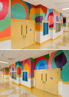 Wall Drawings by Raymond Saá at PS 357 Young Voices Academy of the Bronx School Hallways, School Murals, Creative Wall Painting, Creative Walls, Kids Indoor Playground, Wall Drawing, Mural Wall Art, Office Wall Art, Unique Wall Art